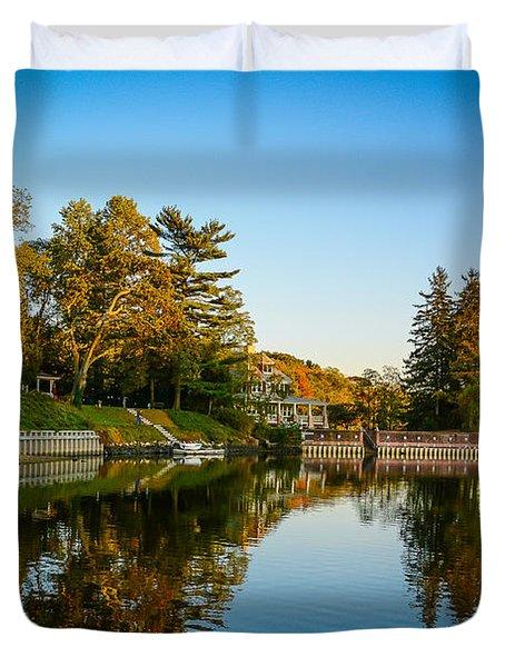 Centerport Harbor Autumn Colors Duvet Cover
