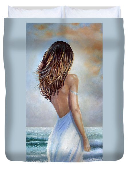Duvet Cover featuring the painting A Walk On The Beach by Michael Rock