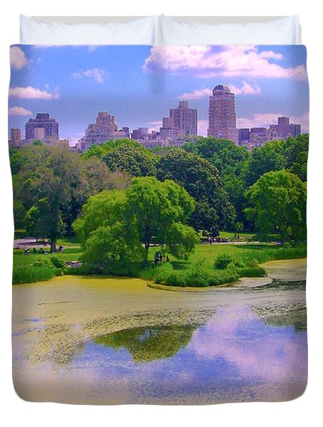 Central Park And Lake, Manhattan Ny Duvet Cover