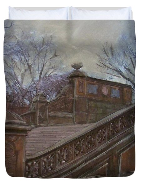 Central Park Bethesda Staircase Duvet Cover by Anita Burgermeister