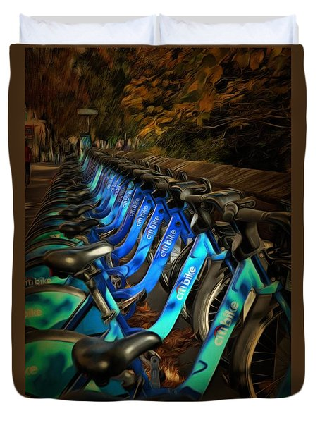 Duvet Cover featuring the mixed media Central Park Bikes by Trish Tritz