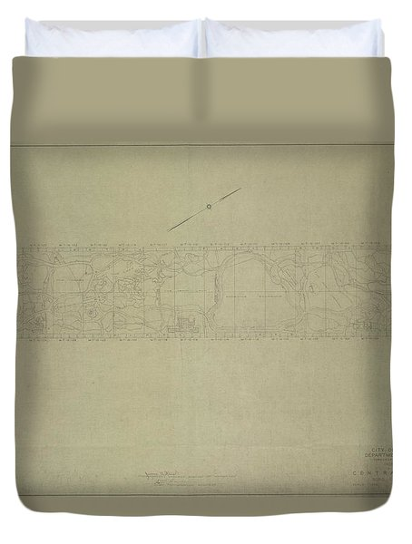 Duvet Cover featuring the photograph Central Park City Of New York Department Of Parks Map 1934 by Duncan Pearson