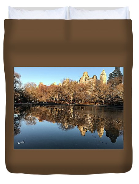 Duvet Cover featuring the photograph Central Park City Reflections by Madeline Ellis