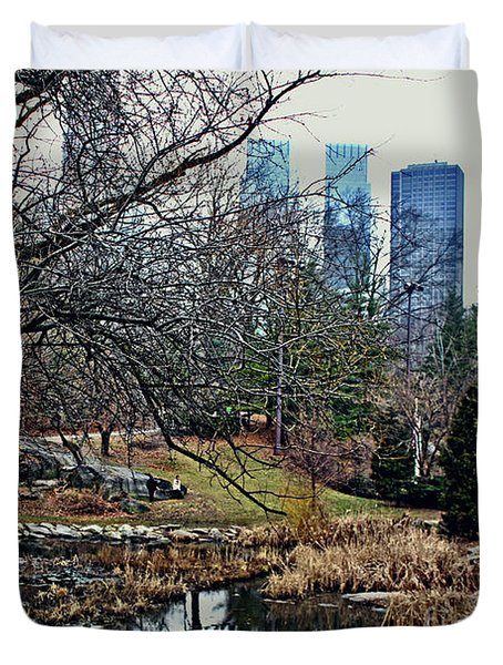 Central Park In January Duvet Cover by Sandy Moulder