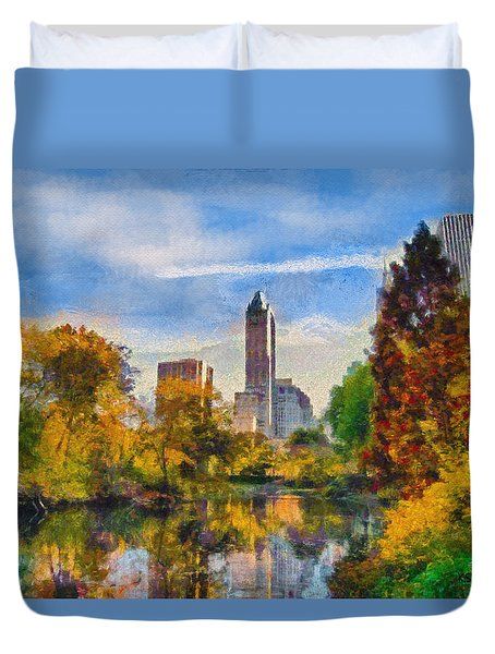 Duvet Cover featuring the painting Central Park by Kai Saarto