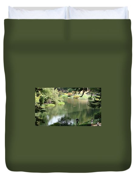 Duvet Cover featuring the painting Central Park  N Y by Rod Jellison