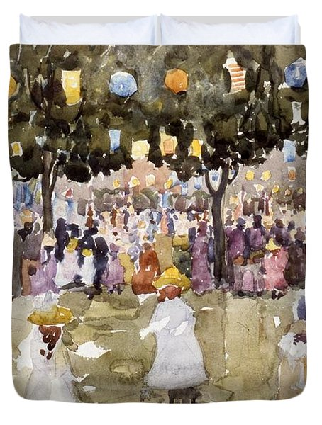 Central Park  New York City  July Fourth  Duvet Cover by Maurice Prendergast
