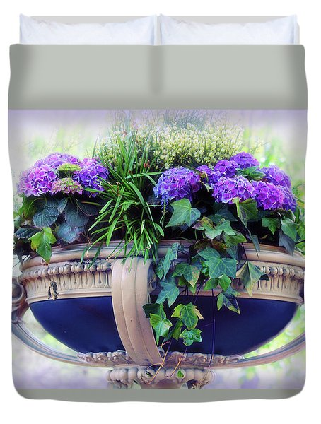 Duvet Cover featuring the photograph Central Park Planter by Jessica Jenney