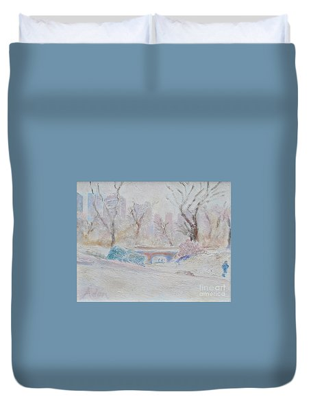 Central Park Record Early March Cold Circa 2007 Duvet Cover