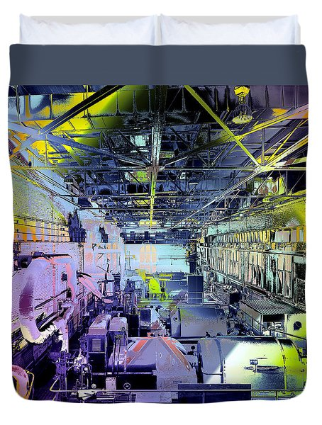 Duvet Cover featuring the photograph Grunge Central Power Station by Robert G Kernodle