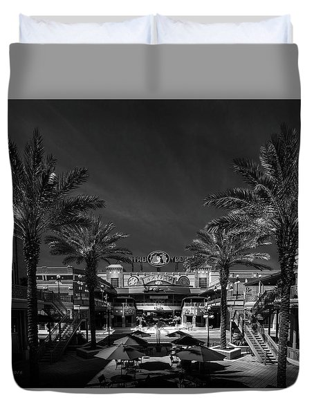 Duvet Cover featuring the photograph Centro Ybor Bw by Marvin Spates