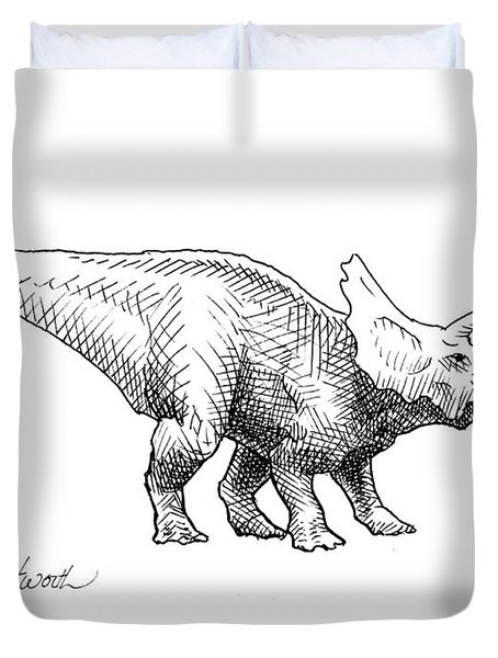 Cera The Triceratops - Dinosaur Ink Drawing Duvet Cover