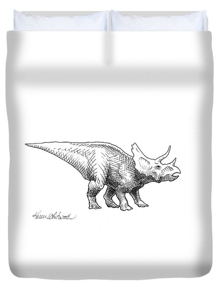 Duvet Cover featuring the drawing Cera The Triceratops - Dinosaur Ink Drawing by Karen Whitworth