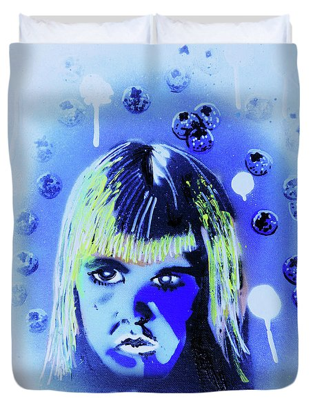 Duvet Cover featuring the painting Cereal Killers - Boo Berry  by eVol i