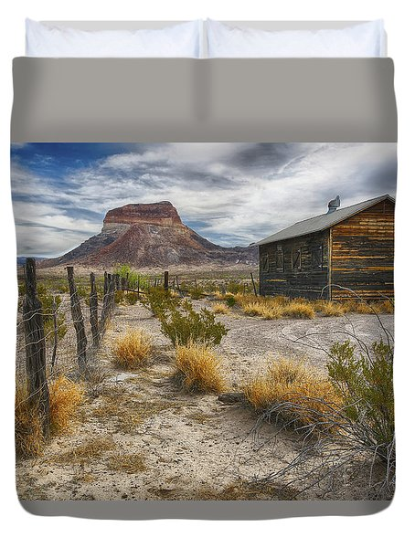 Duvet Cover featuring the tapestry - textile Cerro Castellan - Big Bend - Color by Kathy Adams Clark