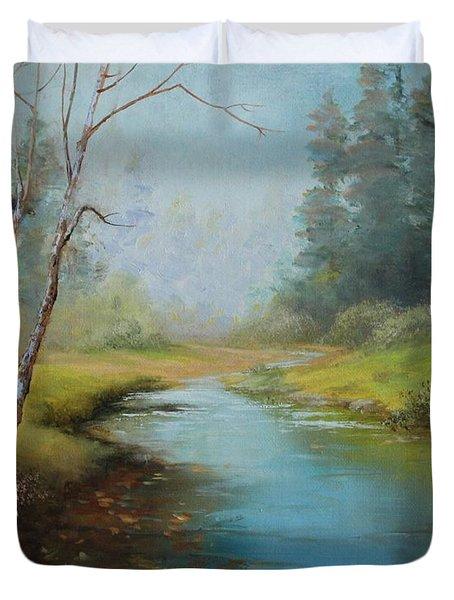 Cerulean Blue Stream Duvet Cover