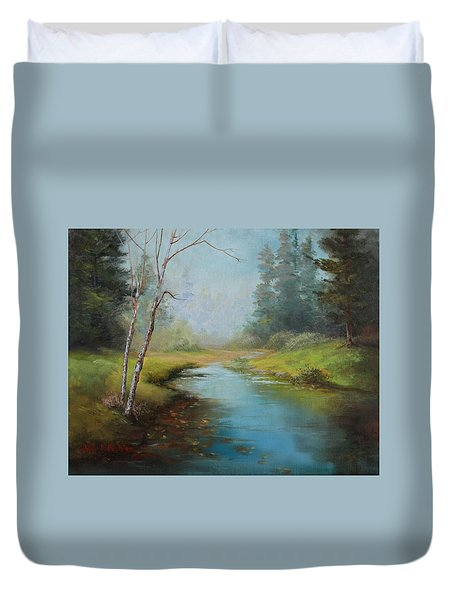 Cerulean Blue Stream Duvet Cover