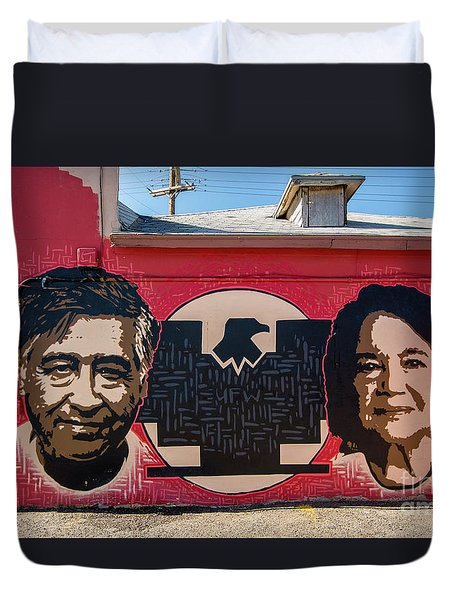 Duvet Cover featuring the photograph Cesar Chavez And Dolores Huerta Mural - Utah by Gary Whitton
