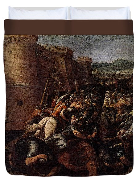 Cesari Giuseppe St Clare With The Scene Of The Siege Of Assisi Duvet Cover by Giuseppe Cesari