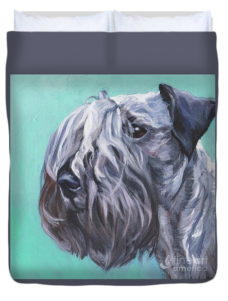 Duvet Cover featuring the painting Cesky Terrier by Lee Ann Shepard