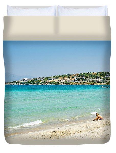 Cesme Beach On Sunny Day Duvet Cover