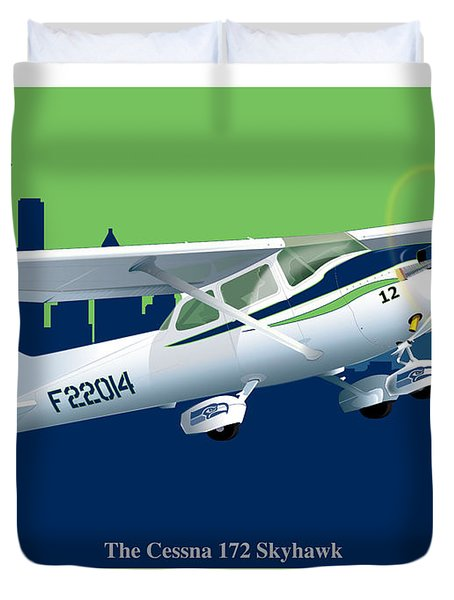 Cessna Skyhawk 172 Duvet Cover by Kenneth De Tore
