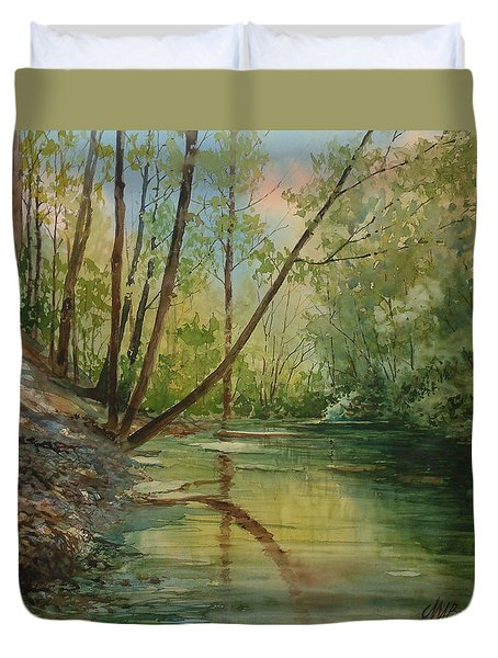 Chagrin River In Spring Duvet Cover