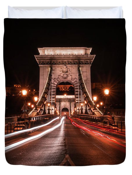 Chain Bridge At Midnight Duvet Cover by Jaroslaw Blaminsky
