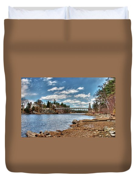 Duvet Cover featuring the photograph Chain Bridge On The Merrimack by Wayne Marshall Chase