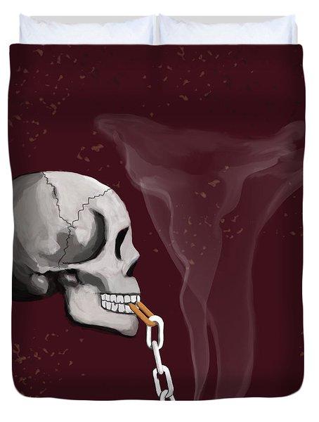 Chain Smoker Skull  Duvet Cover