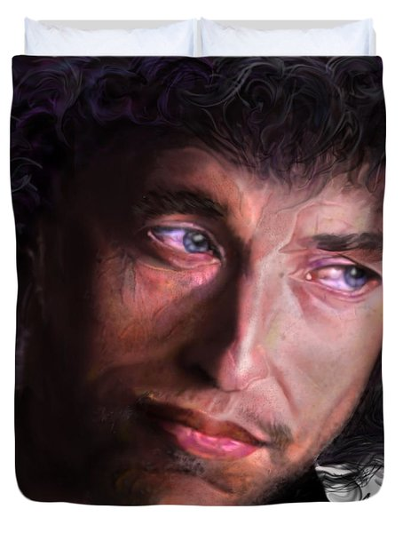 Chained To The Sky -  Bob Dylan  Duvet Cover by Reggie Duffie