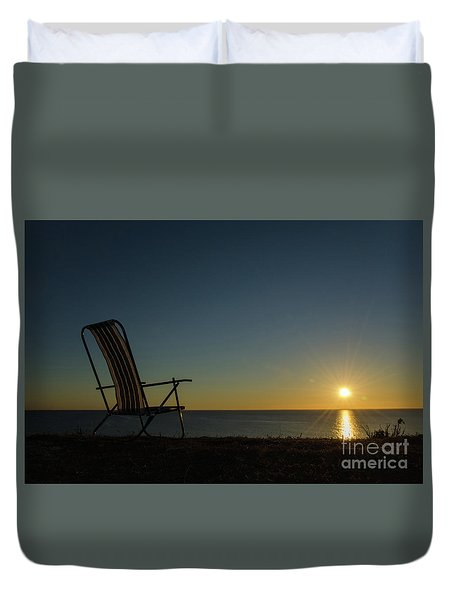 Duvet Cover featuring the photograph Chair By The Setting Sun by Kennerth and Birgitta Kullman