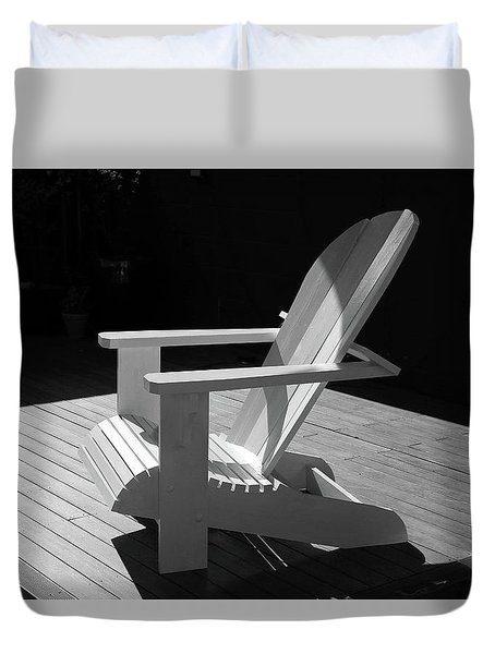 Chair In Black And White Duvet Cover by Nareeta Martin