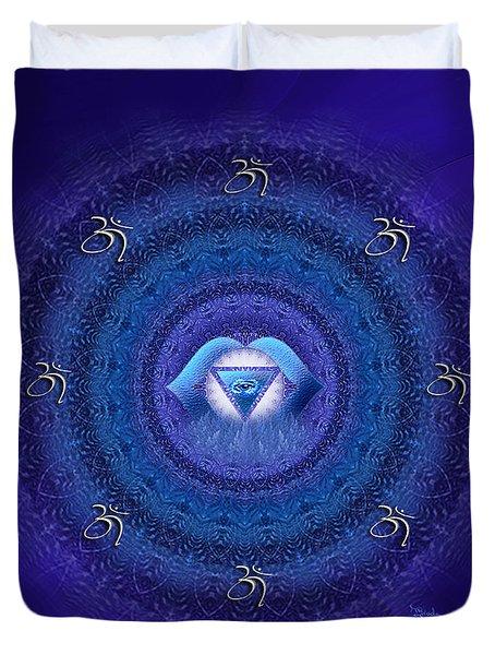Chakra Mandala Art - Ajna Chakra Mandala By Rgiada Duvet Cover by Giada Rossi