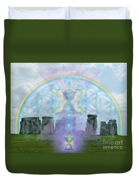 Duvet Cover featuring the digital art Chalice Over Stonehenge In Flower Of Life And Man by Christopher Pringer