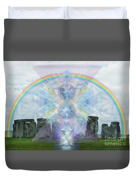 Chalice Over Stonehenge In Flower Of Life Duvet Cover