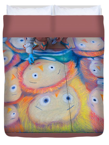 Duvet Cover featuring the photograph Chalk Art - Street Photography by Ram Vasudev