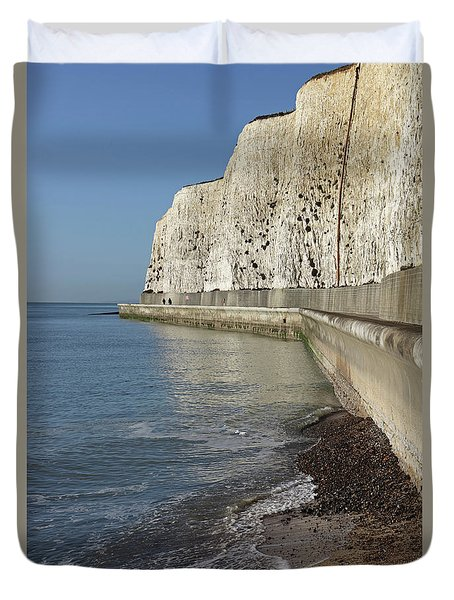 Chalk Cliffs At Peacehaven East Sussex England Uk Duvet Cover