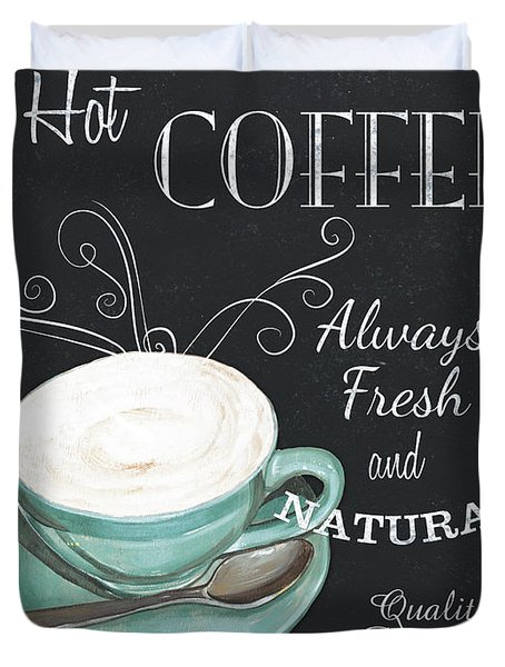 Chalkboard Retro Coffee Shop 1 Duvet Cover