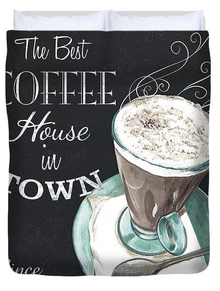 Chalkboard Retro Coffee Shop 2 Duvet Cover