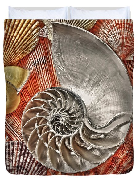 Chambered Nautilus Shell Abstract Duvet Cover