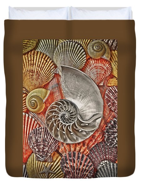 Chambered Nautilus Shell Abstract Duvet Cover by Garry Gay