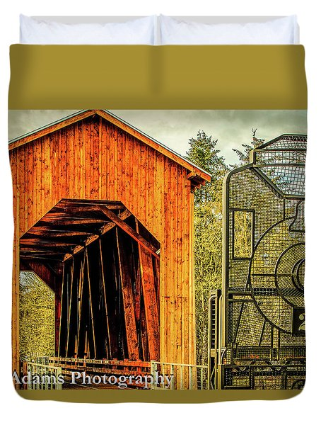 Duvet Cover featuring the photograph Chambers Railroad Bridge by Jim Adams