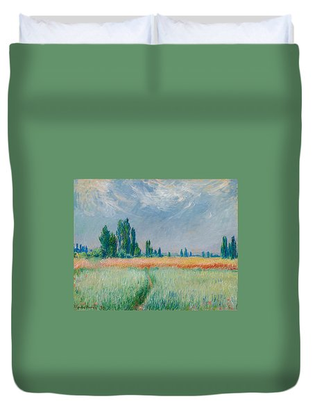 Duvet Cover featuring the painting Champ De Ble by Claude Monet