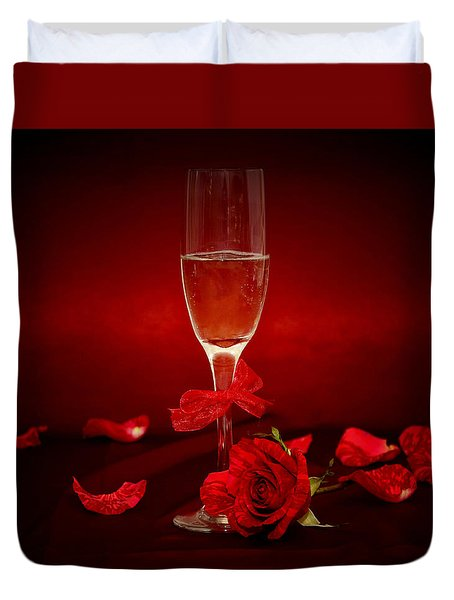 Champagne Glass With Red Roses And Petals Duvet Cover
