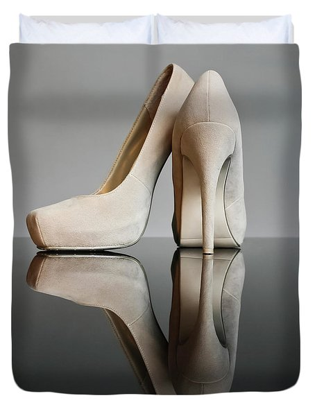 Duvet Cover featuring the photograph Champagne Stiletto Shoes by Terri Waters