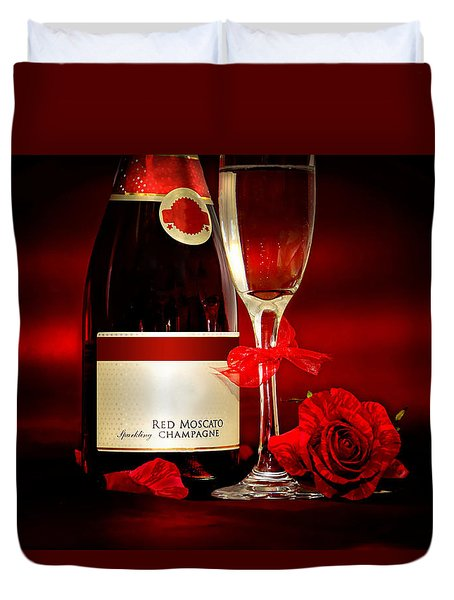 Champagne With Red Roses And Petals Duvet Cover