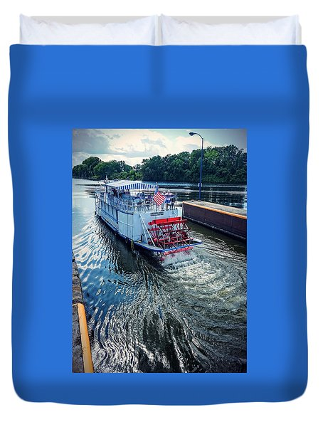 Duvet Cover featuring the photograph Champlain Canal Patriot by Kendall McKernon
