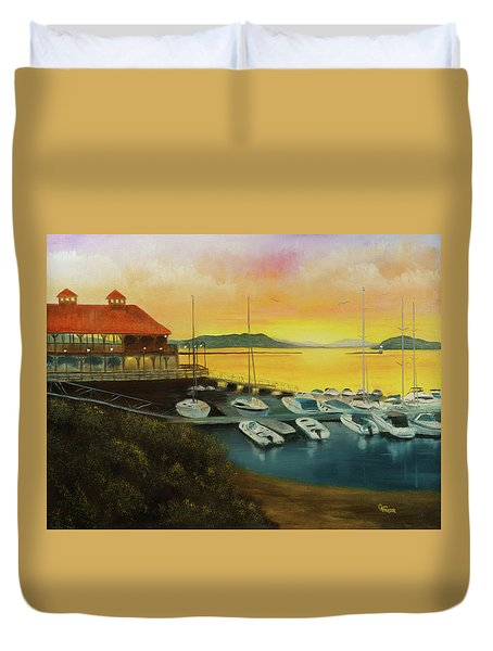Duvet Cover featuring the painting Champs Sunset by Chris Fraser