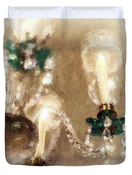 Duvet Cover featuring the digital art Chandelier At Winterthur by Lois Bryan